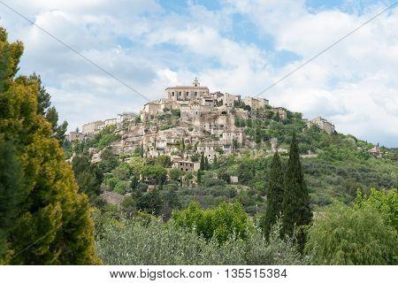 Gordes hilltop historic French village in Provence-Alpes-Côte d'Azur region in southeastern France