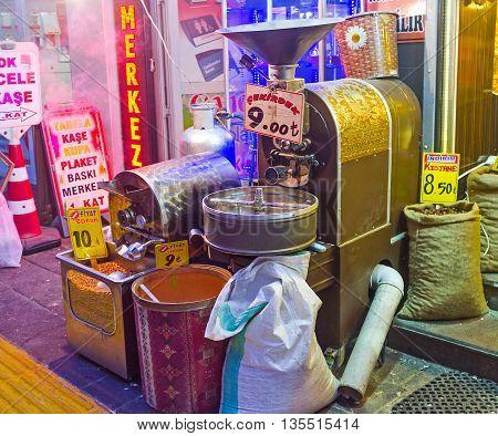 ANKARA TURKEY - JANUARY 16 2015: The stall offers the hot chickpeas fresh from the oven on January 16 in Ankara.
