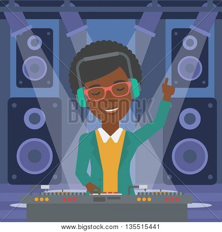 An african-american DJ in eadphones with hand up playing music on turntable on the background of night club vector flat design illustration. Square layout.