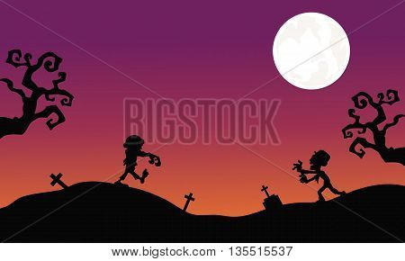 Zombie at night Halloween backgrounds vector illustration