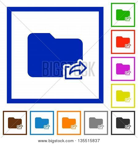 Set of color square framed Export folder flat icons