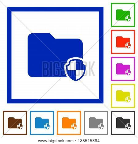 Set of color square framed Protect folder flat icons