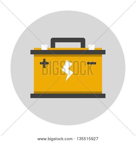 Car battery flat icon. Car repair service icon