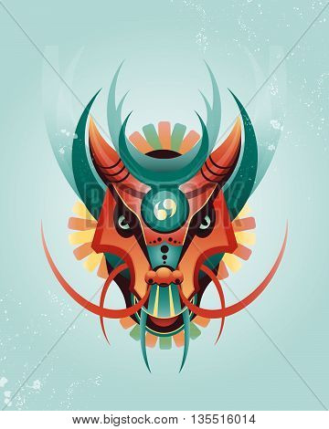 Mascot magical geometric dragon in east style. Vector illustration. Fantasy characters