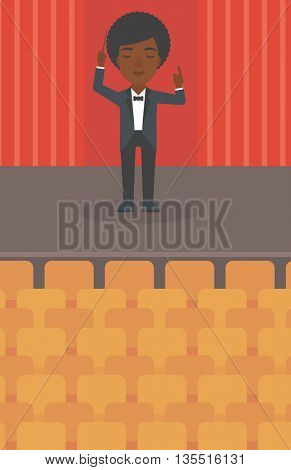An african-american woman directing with her baton on the stage vector flat design illustration. Vertical layout.