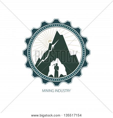 Logo Design Element, Miner against Mountains , Emblem of the Mining Industry, Label and Badge Mine Shaft, Vector Illustration