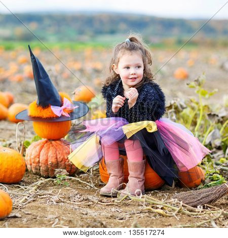 Beautiful little girl wearing halloween witch costume having fun on a pumpkin patch. Traditional family festival with children.