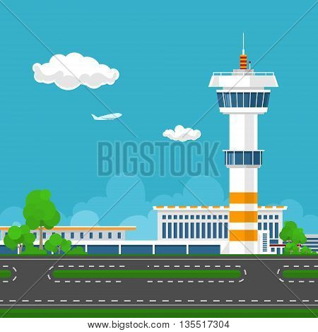 Airport Terminal, Runway at the Airport with Control Tower, Travel and Tourism Concept, Vector Illustration