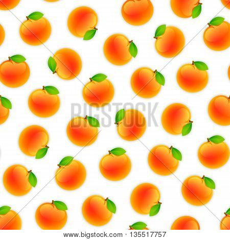 Seamless pattern with a lot of peaches. Isolated on white background. Clipping paths included.