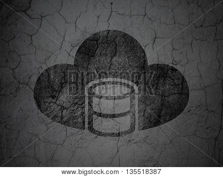 Programming concept: Black Database With Cloud on grunge textured concrete wall background