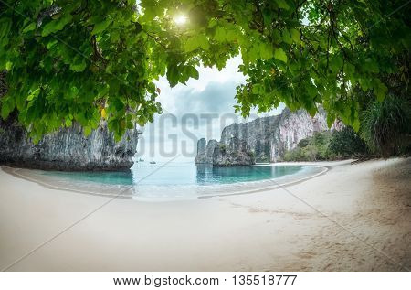 Perfect beach and trees on the island of Koh Hong, Krabi province, Thailand