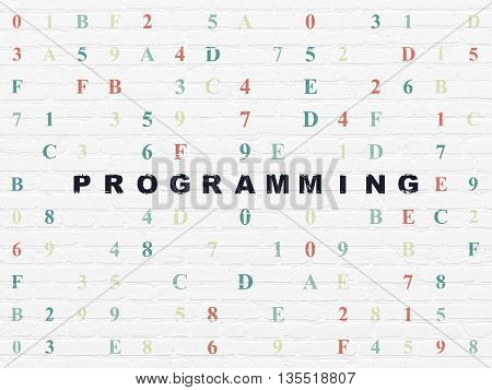 Software concept: Painted black text Programming on White Brick wall background with Hexadecimal Code