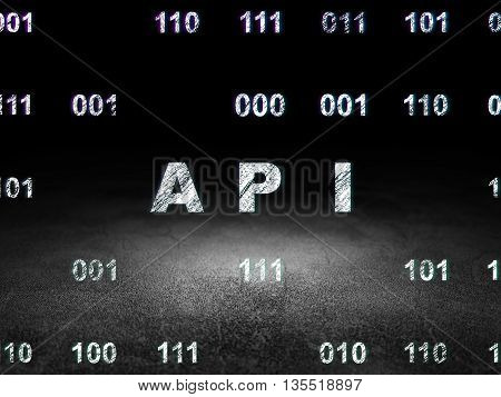 Software concept: Glowing text Api in grunge dark room with Dirty Floor, black background with Binary Code