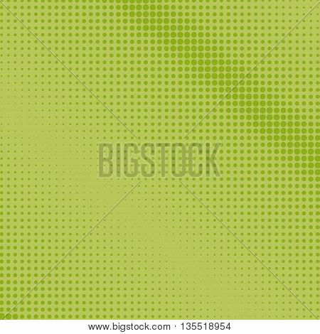 Pop Art Background, Green Dots on a Light Green Background, Halftone Background, Retro Style ,Vector Illustration
