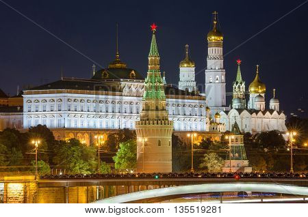 Moscow, Russia - August 10, 2015: Night View Of The Grand Kremlin Palace In Moscow Kremlin