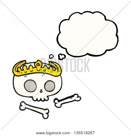 freehand drawn thought bubble textured cartoon skull wearing tiara