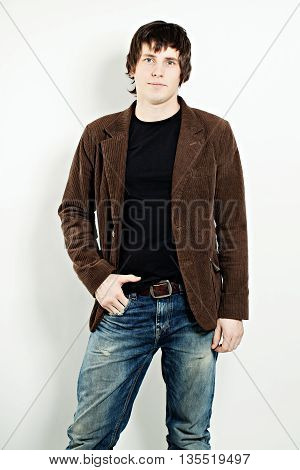 Nice Guy in Brown Corduroy Jacket and Blue Jeans