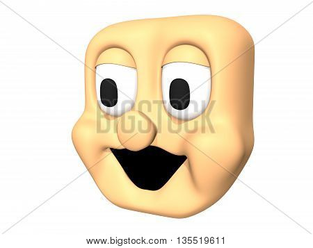 Funny 3D laughing head icon of cartoon character.