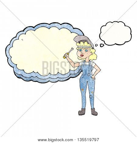 freehand drawn thought bubble textured cartoon female mechanic