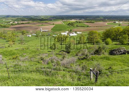 A rural farm country landscape during spring.