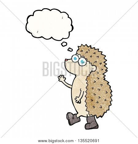 cute freehand drawn thought bubble textured cartoon hedgehog