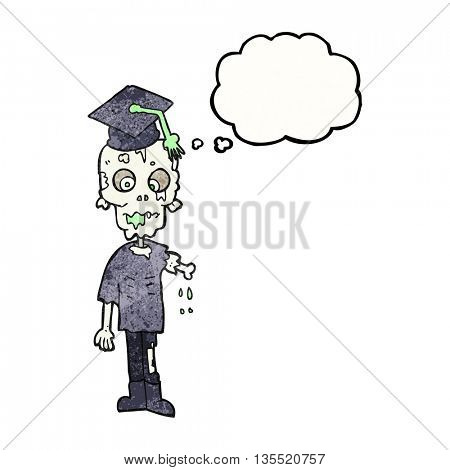 freehand drawn thought bubble textured cartoon zombie student