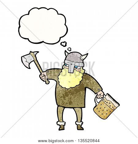 freehand drawn thought bubble textured cartoon drunk viking