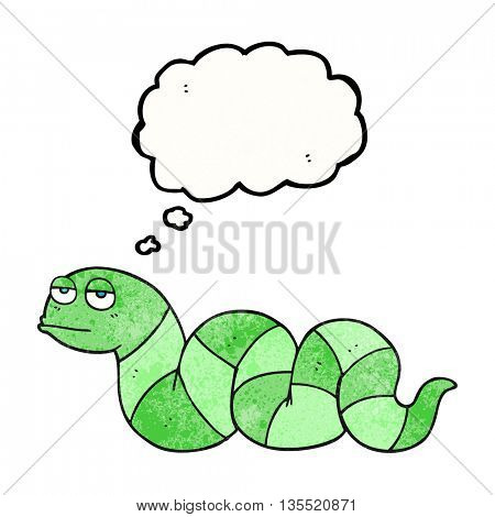 freehand drawn thought bubble textured cartoon bored snake