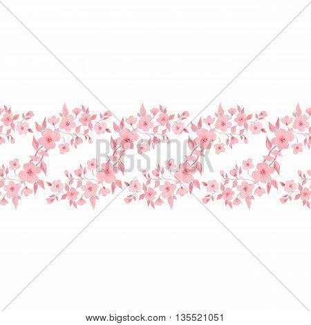Blossom. Watercolor floral background. Beautiful seamless border 3