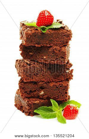 Tasty Chocolate cake with fresh berry on background