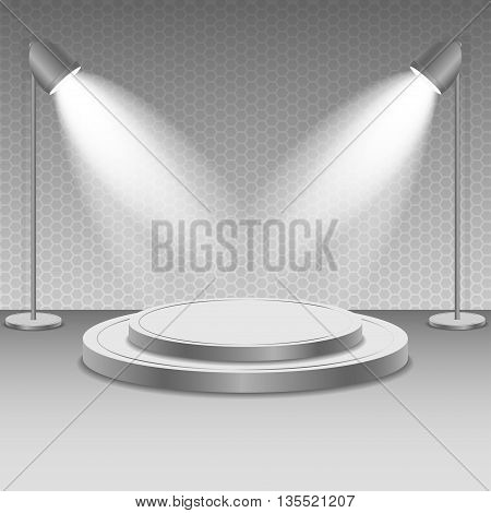 Scene with spotlights. Two spotlights illuminate the podium with steps. Bright lighting illumination with isolated spotlights.