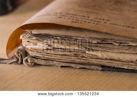 Antique ortodox scripture book close-up macro horizontal