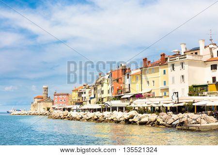 Picturesque old town Piran - beautiful Slovenian adriatic coast.
