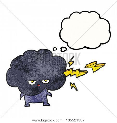freehand drawn thought bubble textured cartoon raincloud character shooting lightning