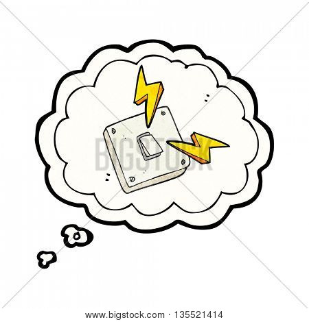 freehand drawn thought bubble textured cartoon sparking electric light switch