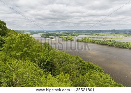 A scenic view of the Mississippi River.