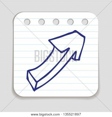 Doodle Arrow icon. Blue pen hand drawn infographic symbol on a notepaper piece. Line art style graphic design element. Web button with shadow. Direction, growth, going up,  progress concept.