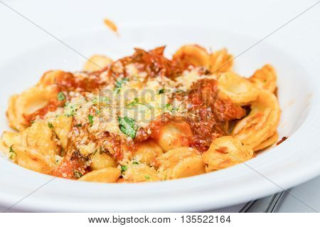 Bowl of Cheese Tortellini with Tomato Sauce