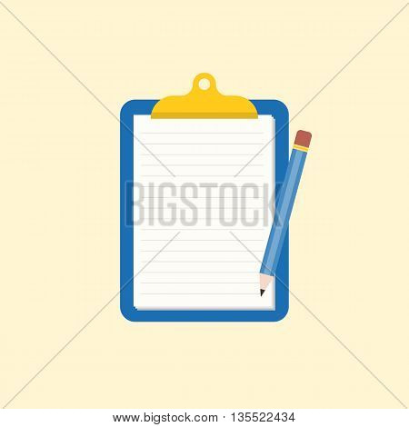Note memo and pencil illustration, reminder icon, blank clipboard icon flat design