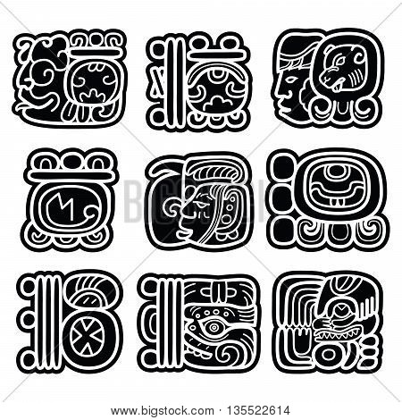 Mayan writing system, Maya glyphs and languge vector design