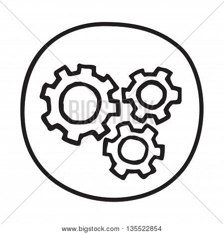Doodle Gears icon. Infographic symbol in a circle. Line art style graphic design element. Web button.  Working smoothly, teamwork, industry, motion concept.
