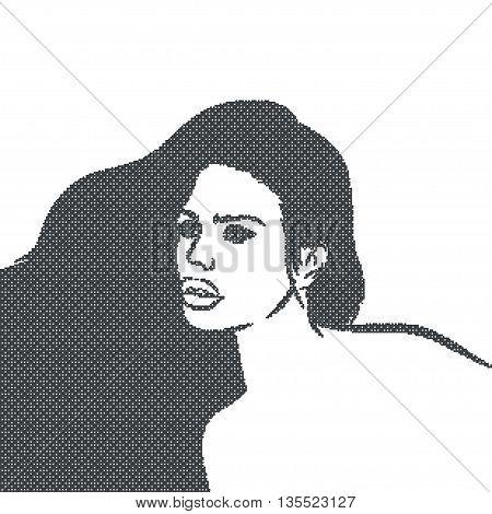 Pixelate Mosaic Black Girl Face. Vector Illustration. EPS
