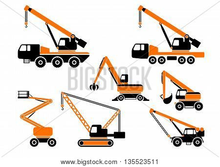 Set of heavy construction machines. Vector illustration.