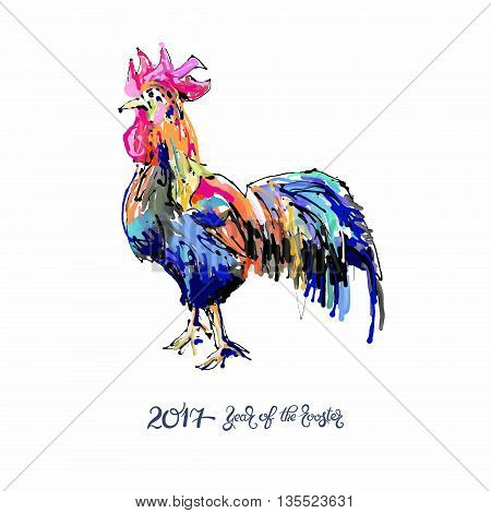 original design for new year celebration chinese zodiac signs with decorative rooster, digital painting vector illustration with hand written lettering inscription 2017 year of the rooster