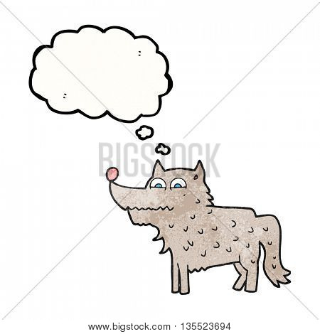 freehand drawn thought bubble textured cartoon dog