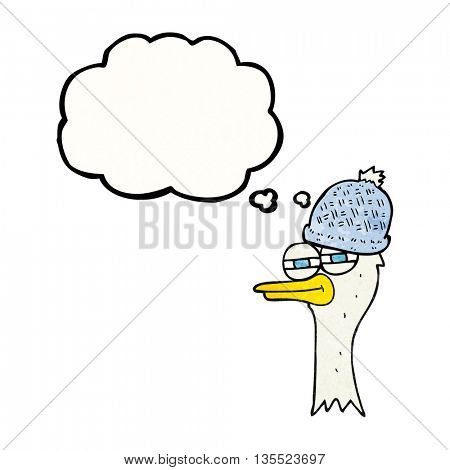 freehand drawn thought bubble textured cartoon bird wearing hat