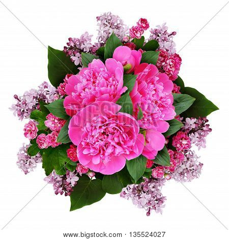 Pink peony hawthorn and lilac flowers bouquet isolated on white