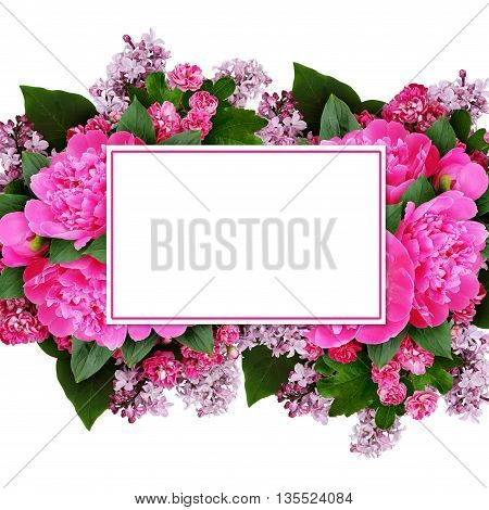 Pink peony hawthorn and lilac flowers arrangement with a card isolated on white
