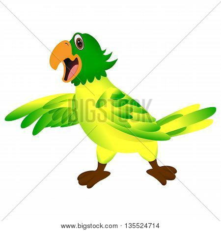 Green yellow parrot pointing or showing something with his wing