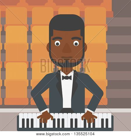 An african-american man playing piano on the background of empty theater seats vector flat design illustration. Square layout.